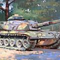 M60 A3 Desert Storm Tank- Plein Air by Larry Seiler