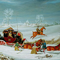 Mail Coach In The Snow by John Pollard