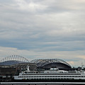 Mariners Seahawks And Ferry by Carol  Eliassen