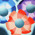 Mark Webster - Abstract Futurist Flowers 2 Oil Painting  by Mark Webster