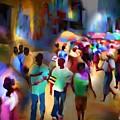 Marketplace At Night Cap Haitien by Bob Salo