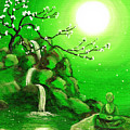 Meditating While Cherry Blossoms Fall In Green by Laura Iverson