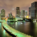 Miami Skyline At Night by Steve Whiston - Fallen Log Photography