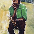 Miles Davis With Green Shirt by Udi Peled