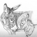 Mini Donkey Mom And Baby by Gail Finger