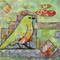 Mint Green Bird Art by Blenda Studio