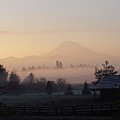 Misty Mt. Rainier Sunrise by Shirley Heyn