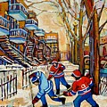 Montreal Hockey Game With 3 Boys by Carole Spandau
