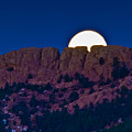 Moon Setting Behind Horsetooth Rock by Harry Strharsky