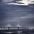 Moonrise Over Sunshine Skyway Bridge by Steven Sparks