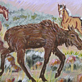 Moose And Horses Animal Vignette From River Mural by Dawn Senior-Trask