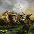 Moroccan Horsemen In Military Action by Ferdinand Victor Eugene Delacroix