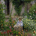 Mother And Child In The Flowers by Camille Pissarro