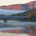 Mount Ascutney And Windsor Cornish Bridge Sunrise Fog by John Burk