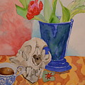 Mountain Lion Skull Tea And Tulips by Beverley Harper Tinsley