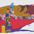 Mustang Tibetan Hawk And Prayer Flags by James SheppardIII