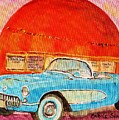 My Blue Corvette At The Orange Julep by Carole Spandau