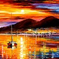 Naples - Sunset Above Vesuvius by Leonid Afremov