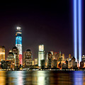 New York City Skyline Tribute In Lights And Lower Manhattan At Night Nyc by Jon Holiday