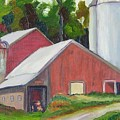 New York State Farm With Silos by Richard Nowak
