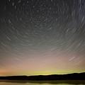 Night Shot Star Trails Lake by Mark Duffy