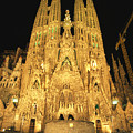 Night View Of Antoni Gaudis La Sagrada by Richard Nowitz