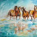 Ocean Breeze Wild Horses by Marcia Baldwin