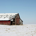 Old Barn And Snowy Prairie by Alan Look