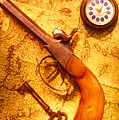 Old Gun On Old Map by Garry Gay