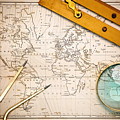 Old Map And Navigational Objects. by Richard Thomas