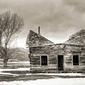 Old Rustic Log Cabin In The Snow by Dustin K Ryan
