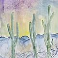 Organ Pipe Cactus Desert Southwestern Painting Poster Print by Derek Mccrea