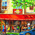 Outdoor Cafe On St. Denis In Montreal by Carole Spandau