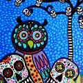 Owl And Sugar Day Of The Dead by Pristine Cartera Turkus