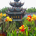Pagoda With Flowers by Angela Siener