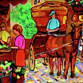 Paintings Of Montreal Streets Old Montreal With Flower Cart And Caleche By Artist Carole Spandau by Carole Spandau