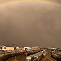 Panoramic Train Yard Storm by Mark Duffy
