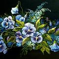 Pansies In Blue On Black by Patricia Rachidi