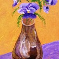 Pansies In Brown Vase by Jamie Frier