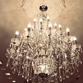 Paris Dreamy Golden Sepia Sparkling Elegant Opulent Chandelier Fine Art by Kathy Fornal