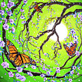 Peace Tree With Monarch Butterflies by Laura Iverson
