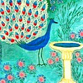 Peacock And Birdbath by Sushila Burgess