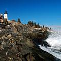 Pemaquid Point Lighthouse - Seascape Landscape Rocky Coast Maine by Jon Holiday