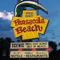 Pensacola Beach Sign At Sunset by Jim Sweida