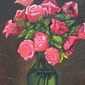 Pink Roses And Vase by Charles Vaughn