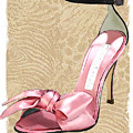 Pink Satin Ankle Straps On Safari by Elaine Plesser