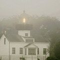 Point Pinos Lighthouse In A Foggy Night - Pacific Grove Monterey Central Ca by Christine Till
