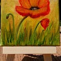 Poppy Trio Miniature With Easel by Susan Dehlinger