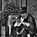 Post Alley Musician In Black And White by David Patterson