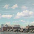 Postcard Look Of Tampa Skyline by Rebecca Sauceda